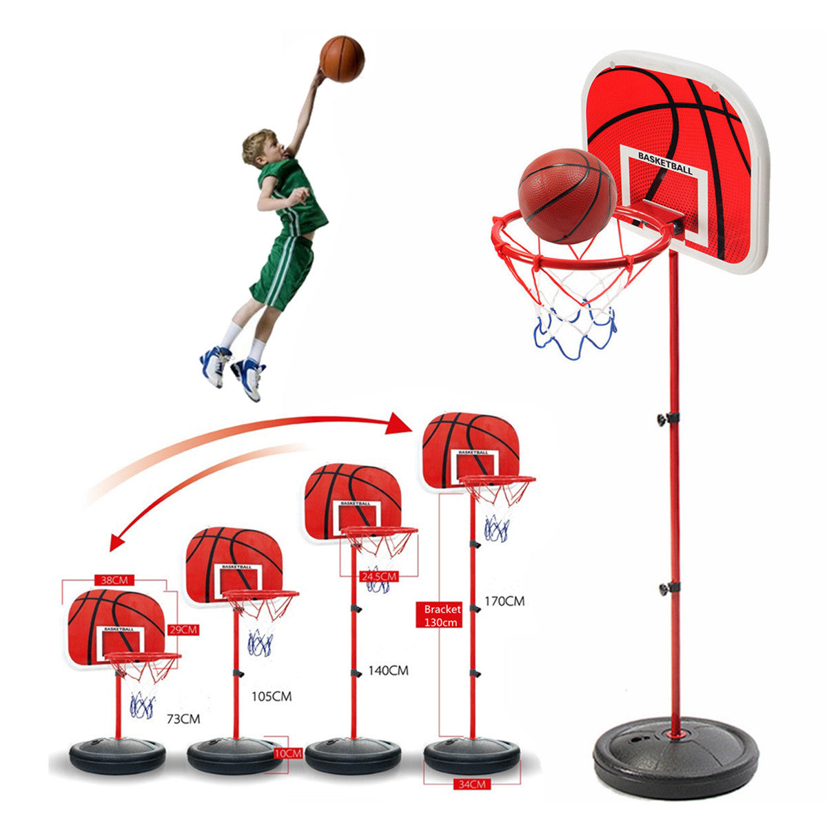 Mini Basketball Stand with Board, Net, Pump and Ball