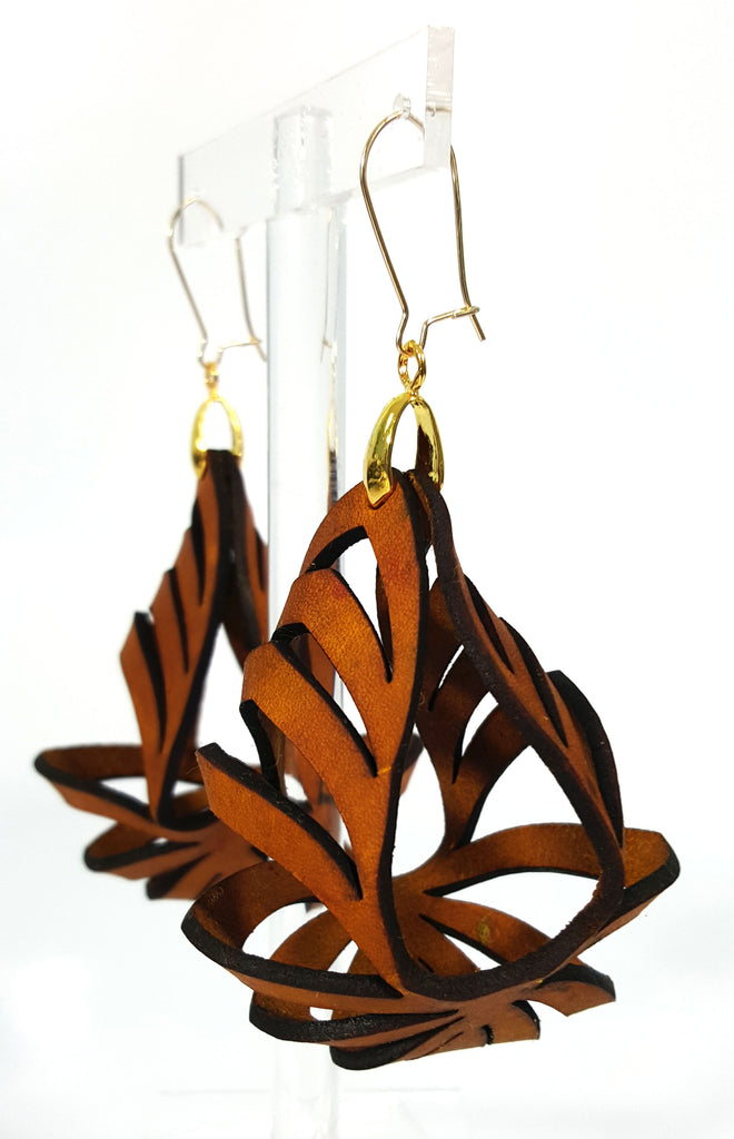Ava Medium Leather Earrings - Tan (Hand Dyed) - Amber Poitier Inc.