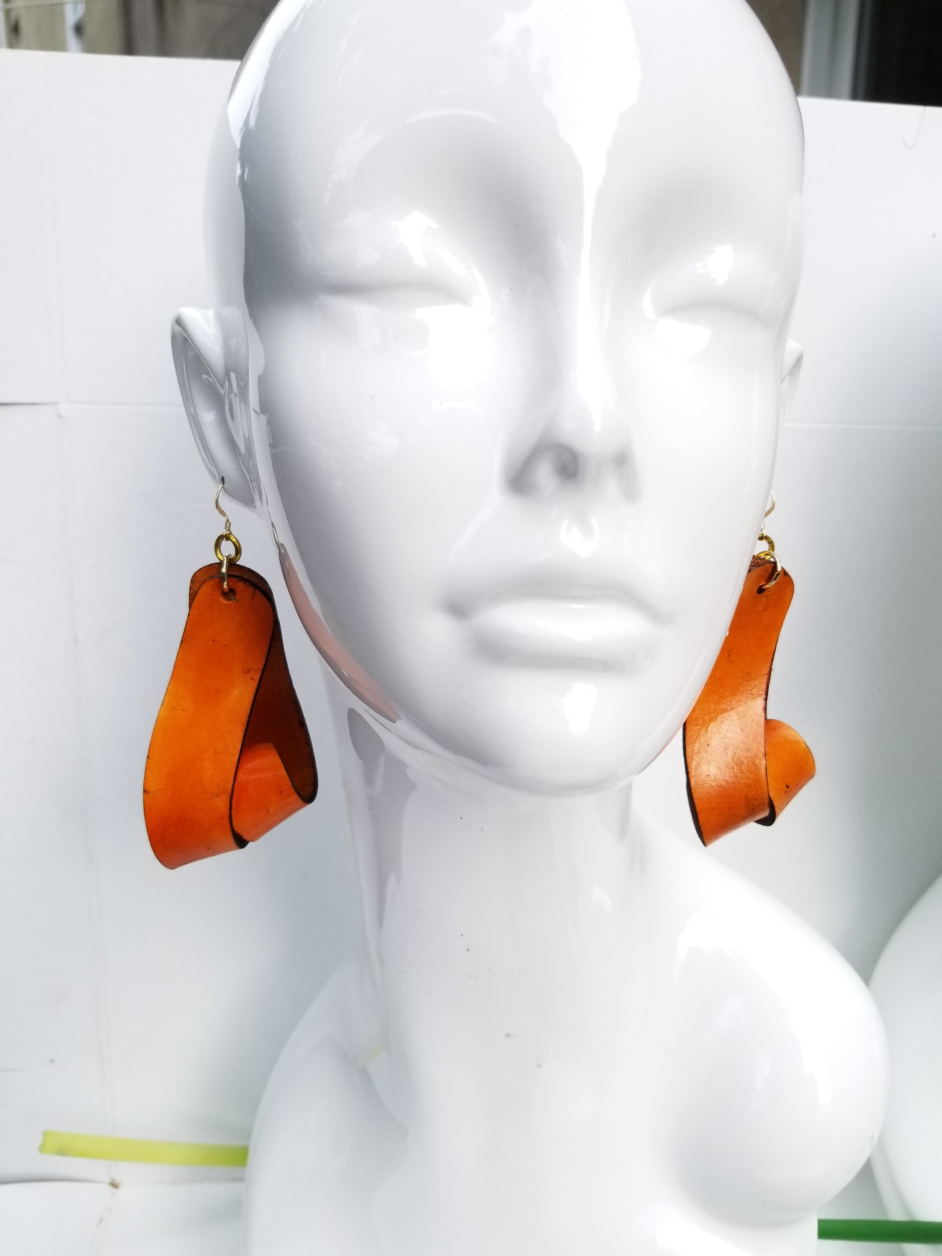 The Carla Large Leather Earrings - Tan (Hand Dyed) - Amber Poitier Inc.