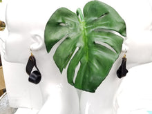 Carla Medium Leather Earrings - Black (Hand Dyed) - Amber Poitier Inc.
