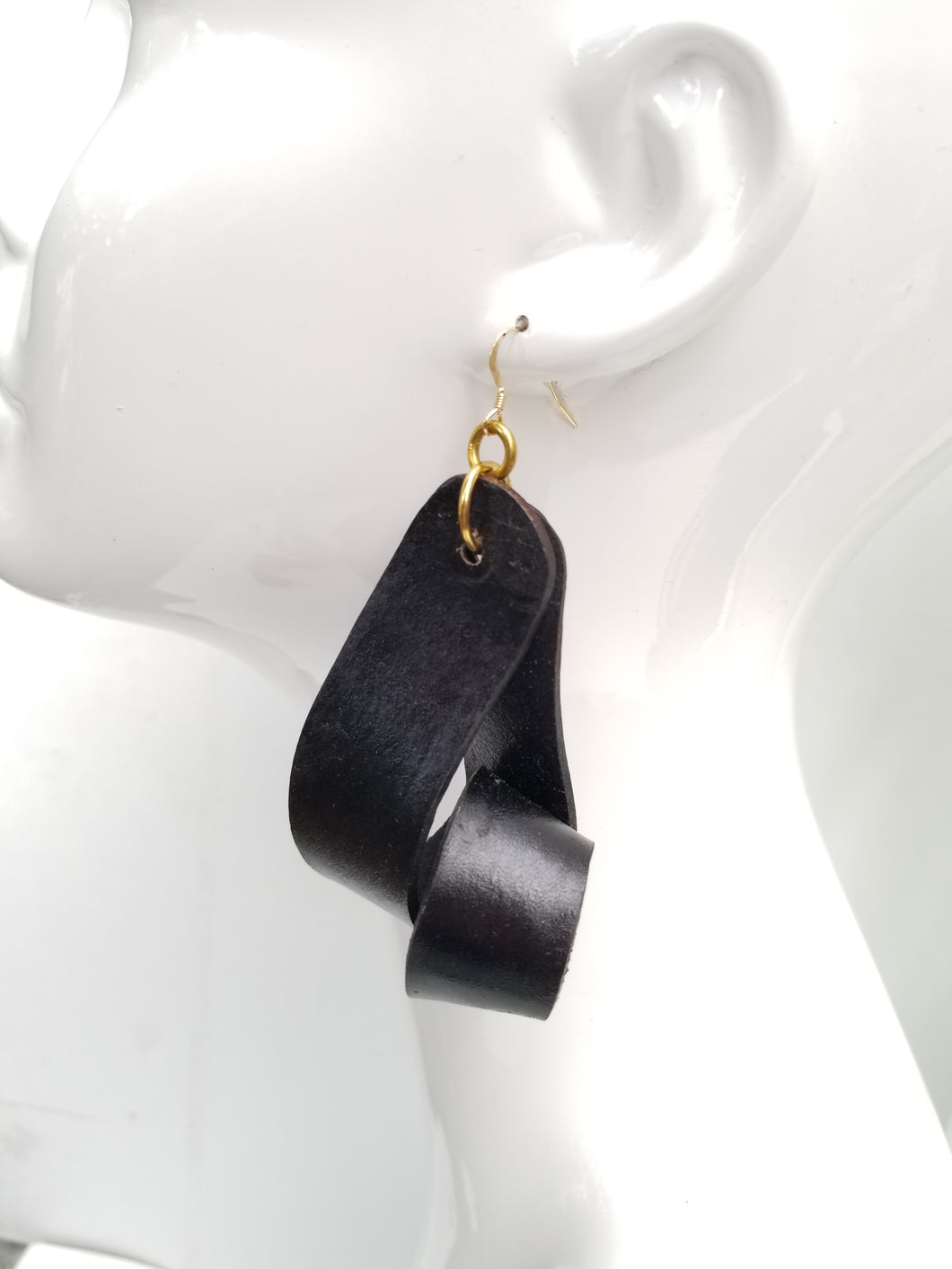 Carla Large Leather Earrings - Black (Hand Dyed)
