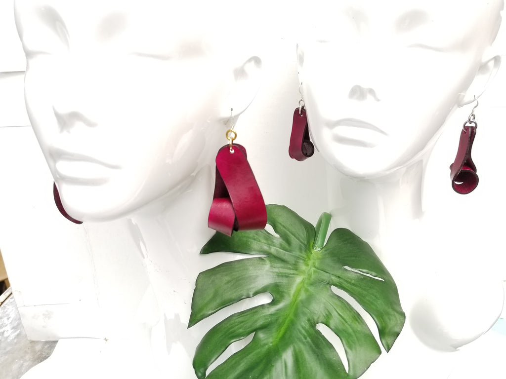 Carla Large Leather Earrings - Merlot (Hand Dyed) - Amber Poitier Inc.