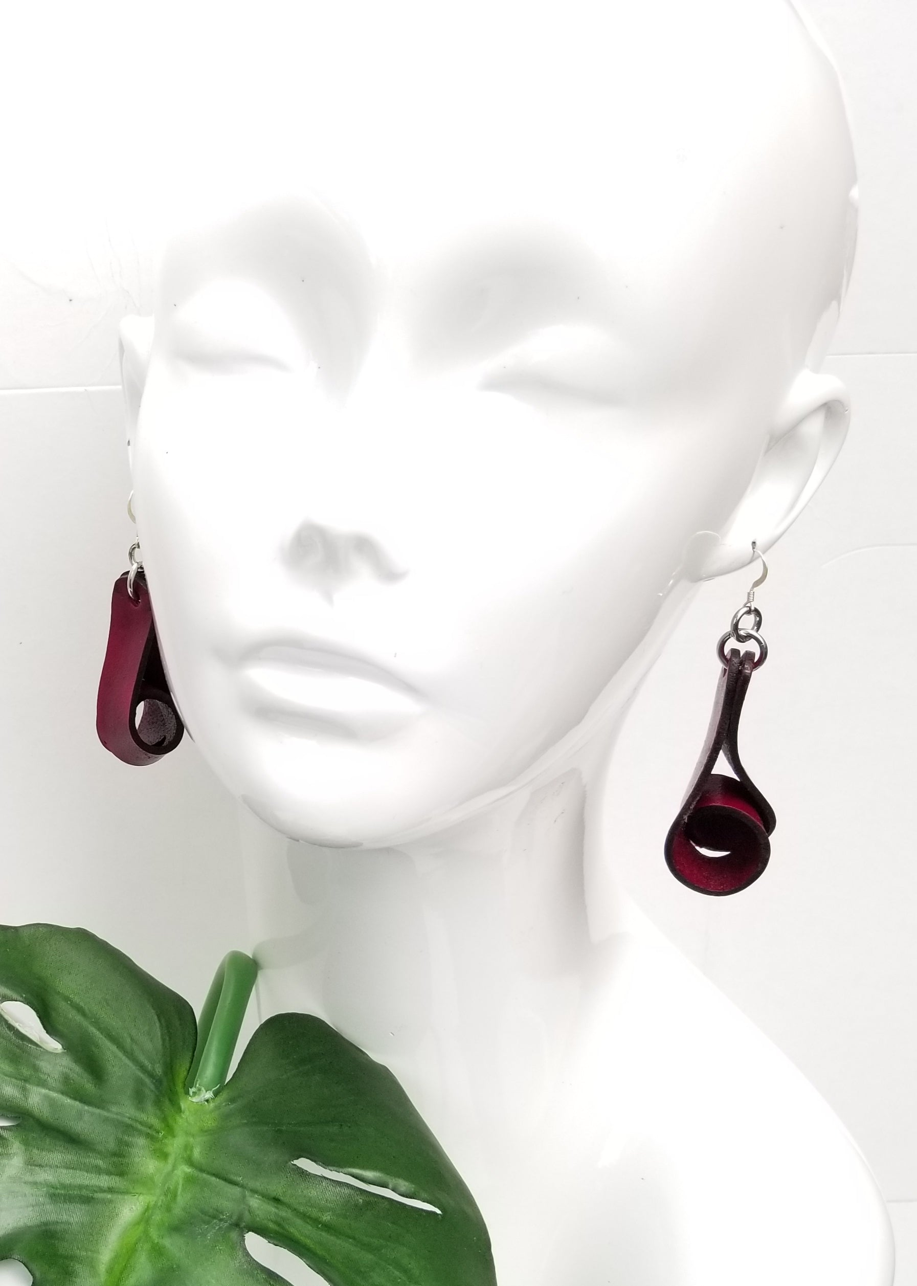 The Carla Medium Leather Earrings - Merlot (Hand Dyed) - Amber Poitier Inc.
