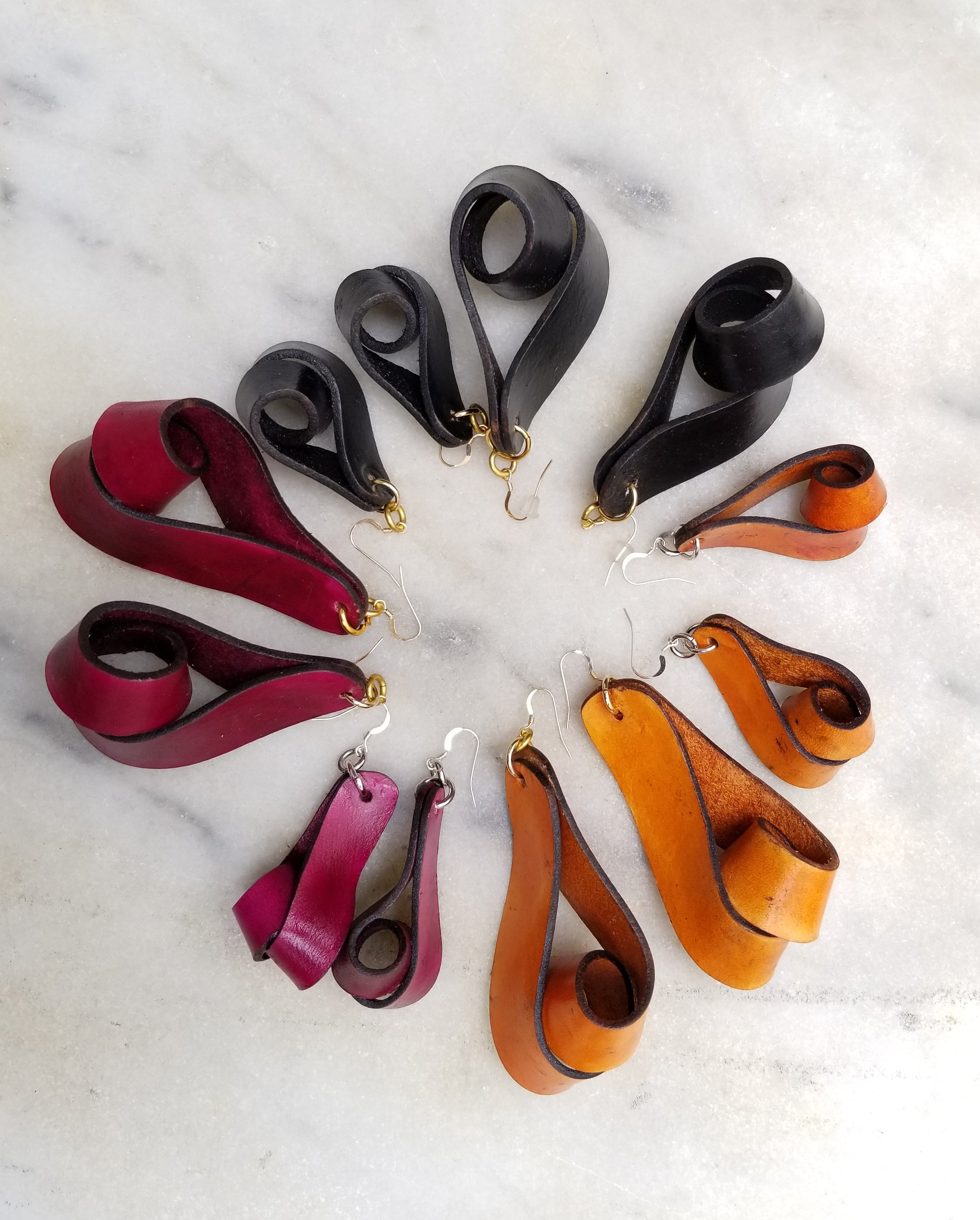 The Carla Medium Leather Earrings - Black (Hand Dyed) - Amber Poitier Inc.