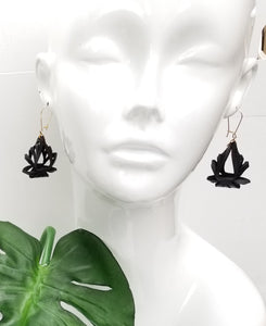 Ava Mini Leather Earrings - Black