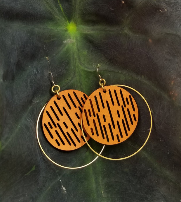 Jazmine Large Leather Earrings - Tan