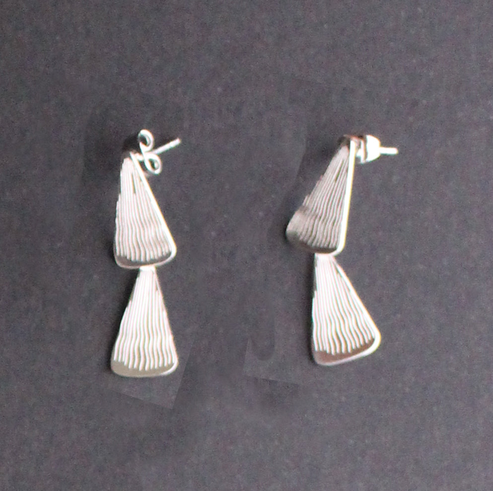 Stacey 2 tier Earring Silver Finish
