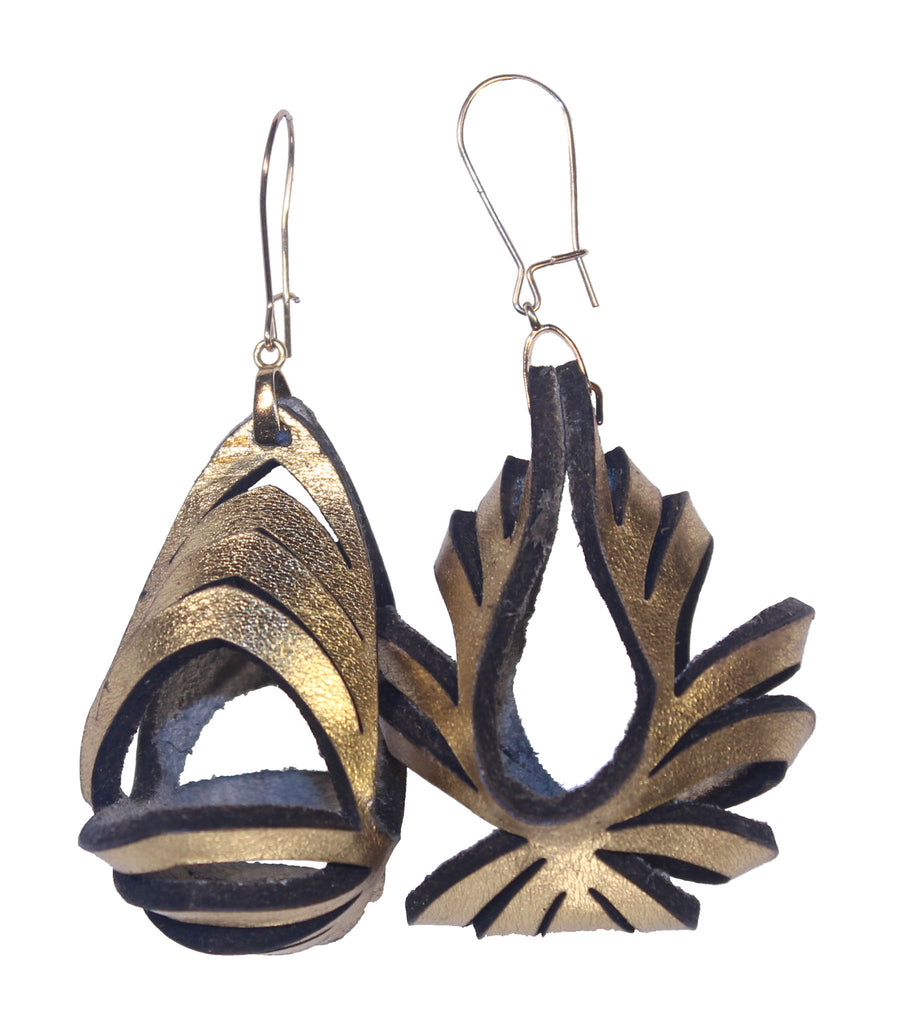 Ava Medium Metallic Leather Earrings - Gold - Amber Poitier Inc.