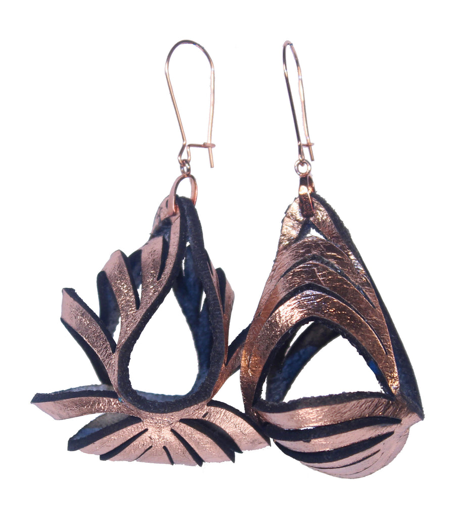 Ava Medium Metallic Leather Earrings - Rose Gold - Amber Poitier Inc.
