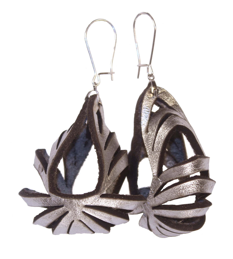 Ava Medium Metallic Leather Earrings - Silver - Amber Poitier Inc.