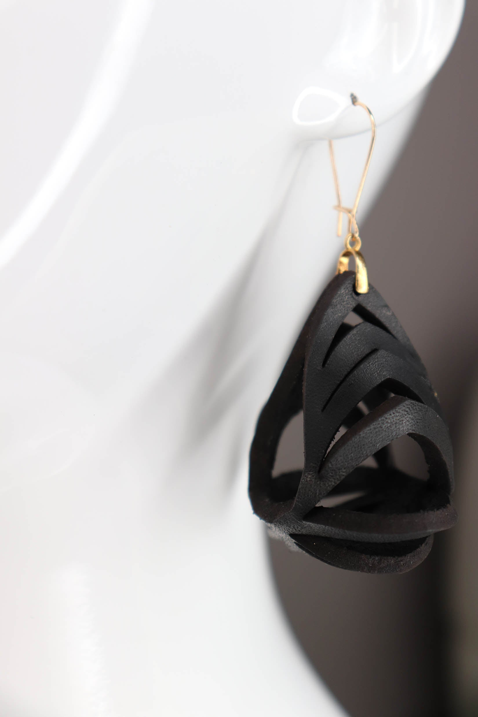 Ava Medium Leather Earrings - Black - Amber Poitier Inc.