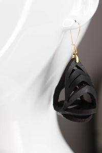 Ava Medium Leather Earrings - Black