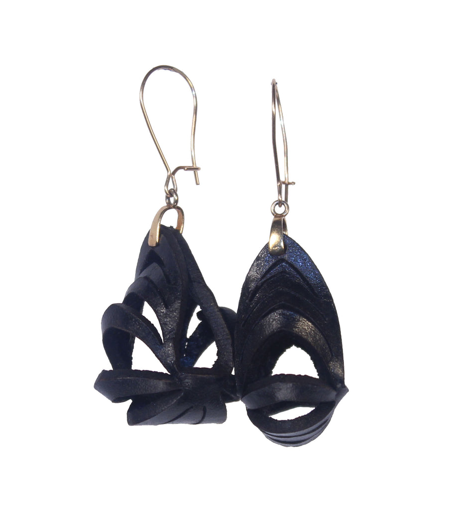 Ava Mini Leather Earrings - Black - Amber Poitier Inc.