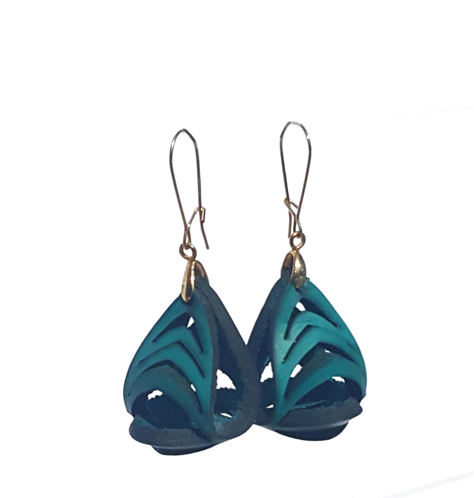Ava Mini Leather Earrings - Jade - Amber Poitier Inc.