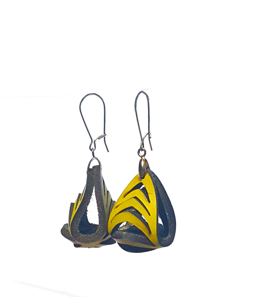 Ava Mini Leather Earrings - Lemon - Amber Poitier Inc.