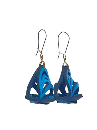 Ava Mini Leather Earrings - Sky