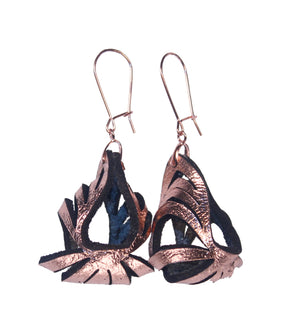 Ava Mini Metallic Leather Earrings - Rose Gold - Amber Poitier Inc.