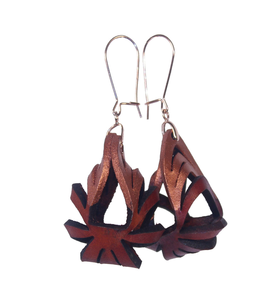 Ava Mini Leather Earrings - Rust with Rose Gold tip (Hand Dyed) - Amber Poitier Inc.