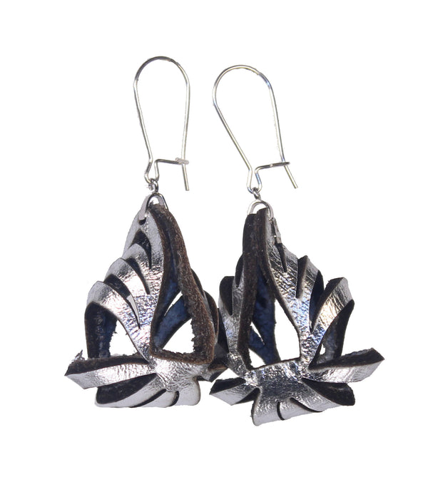 Ava Mini Metallic Leather Earrings - Silver