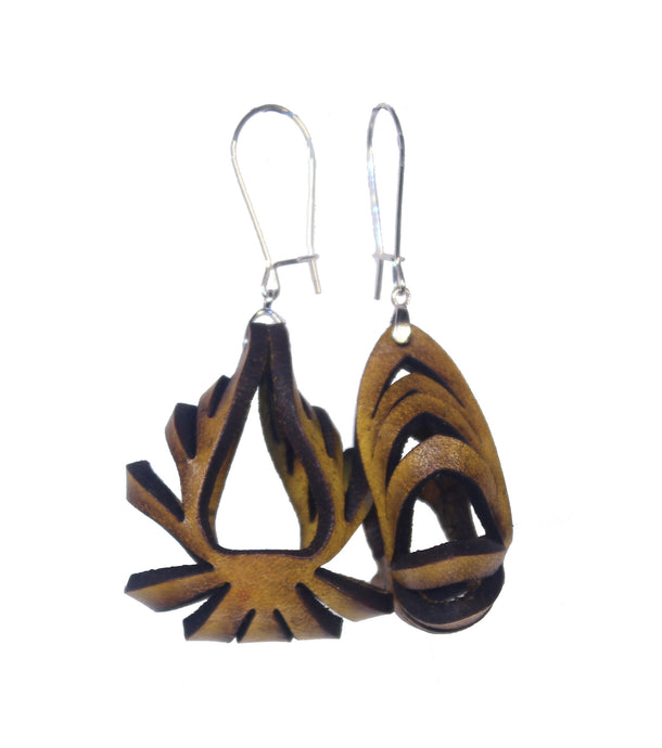 Ava Mini Leather Earrings - Yellow Ochre