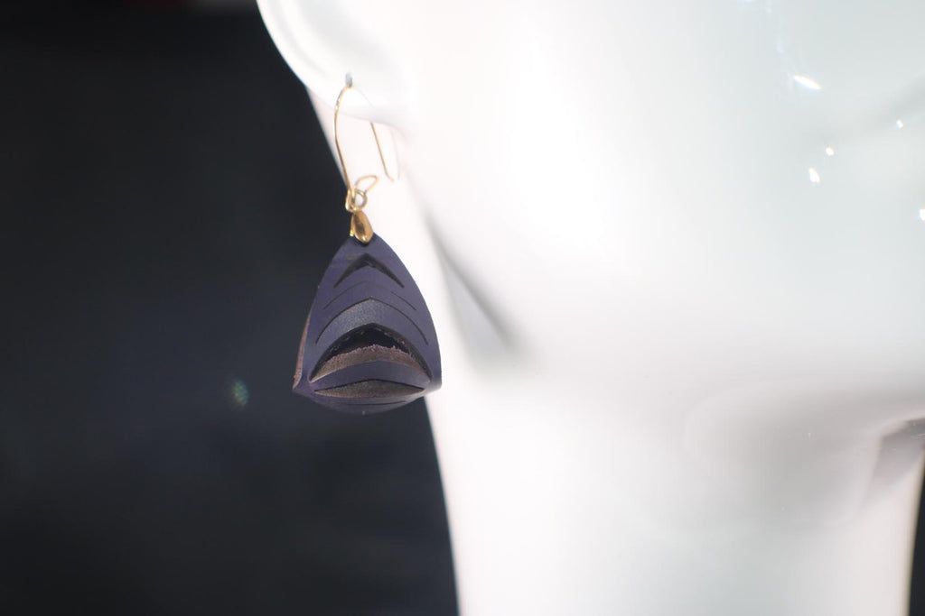 Ava Mini Leather Earrings - Purple Rain - Amber Poitier Inc.