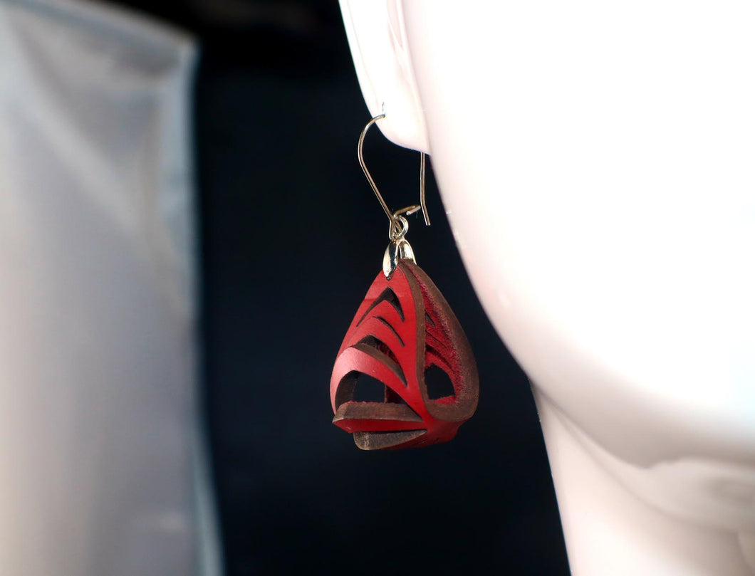 Ava Mini Leather Earrings - Red
