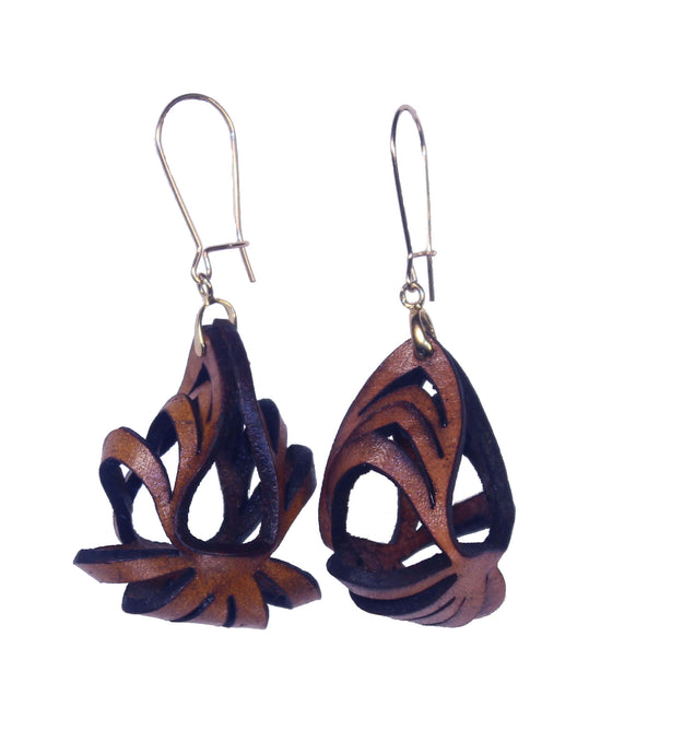 Ava Mini Leather Earrings - Brown