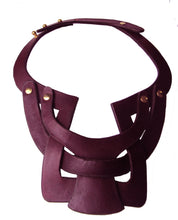 Bianca Leather interlocking necklace - Merlot