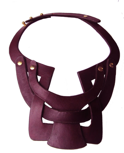 Bianca Leather necklace  single layer interlocking  - Merlot