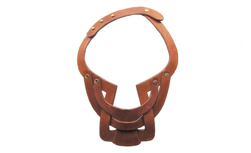 Bianca Leather necklace single layer interlocking  - Tan