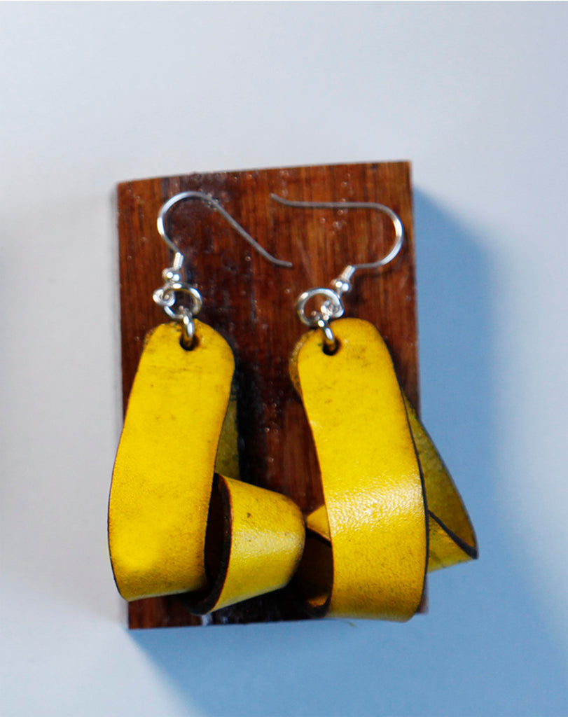 The Carla Medium Leather Earrings - Yellow (Hand Dyed) - Amber Poitier Inc.