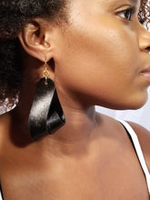 Carla Large Leather Earrings - Black (Hand Dyed) - Amber Poitier Inc.