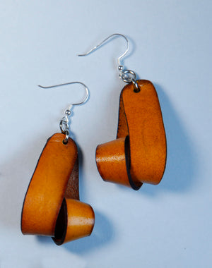 The Carla Medium Leather Earrings - Tan (Hand Dyed) - Amber Poitier Inc.