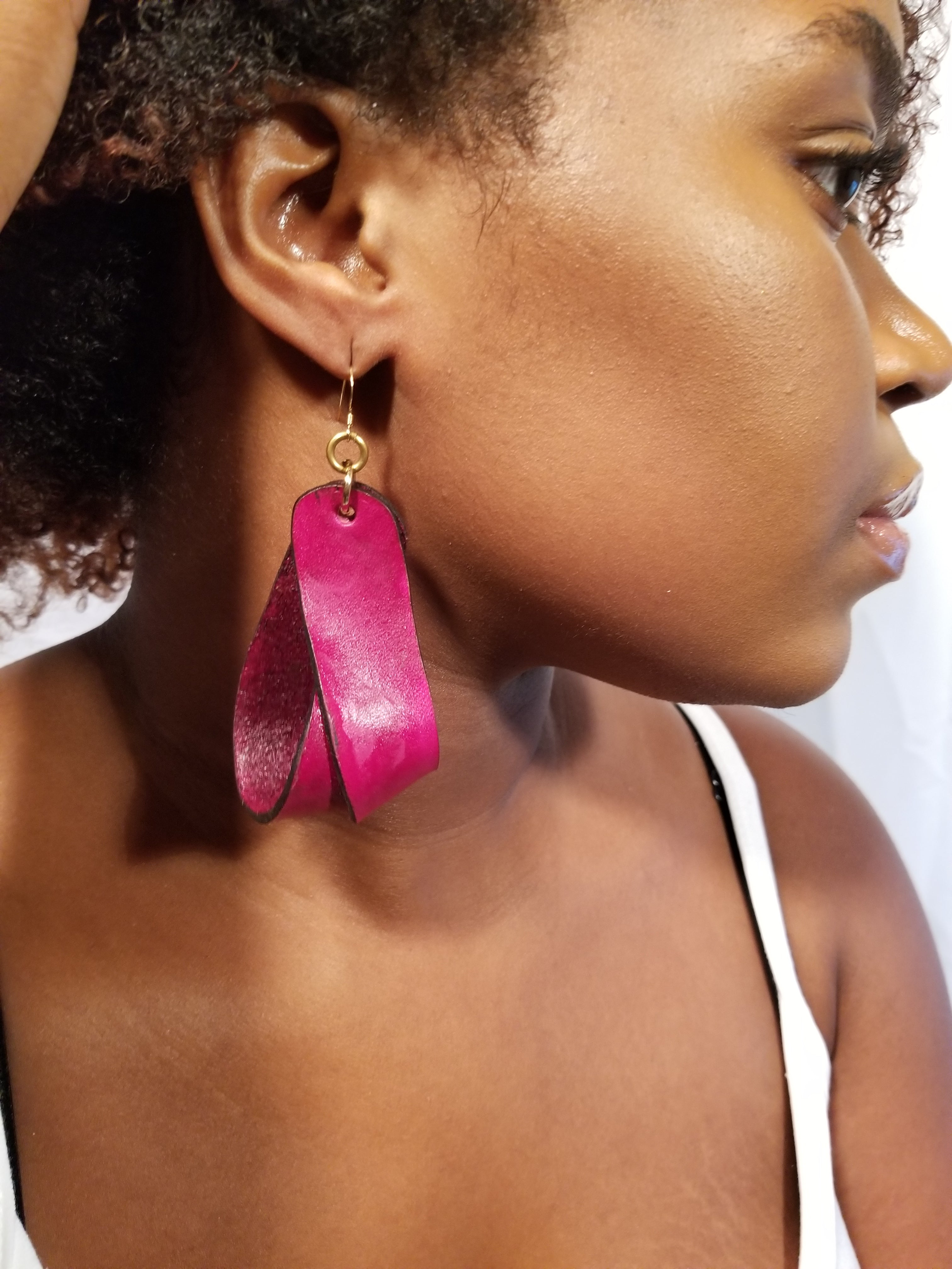 The Carla Large Leather Earrings - Merlot (Hand Dyed) - Amber Poitier Inc.