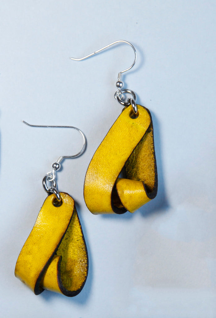 The Carla Small Leather Earrings - Yellow Ochre (Hand Dyed) - Amber Poitier Inc.