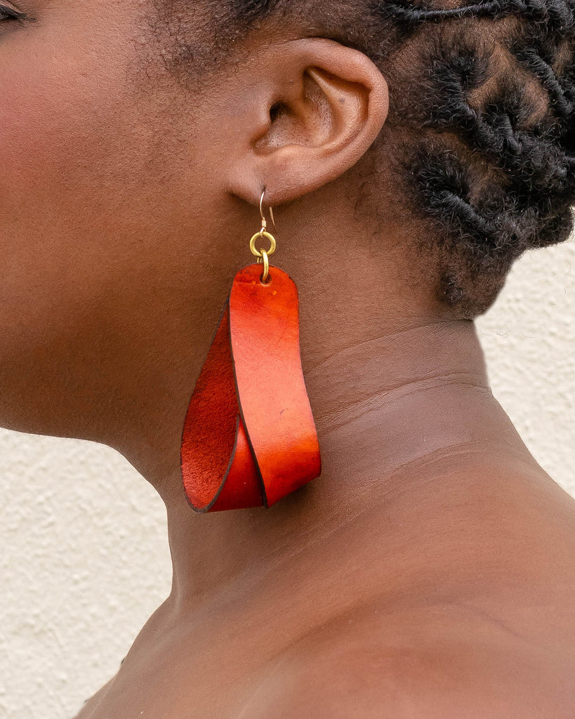 The Carla Large Leather Earrings - Rust (Hand Dyed)