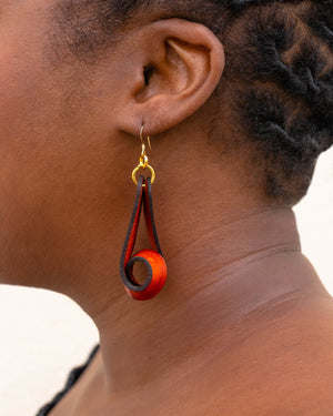 The Carla Medium Leather Earrings - Rust (Hand Dyed)