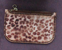 Cleopatra Zip Leather Pouch (small) Veg Tanned Leather - Cheetah Print