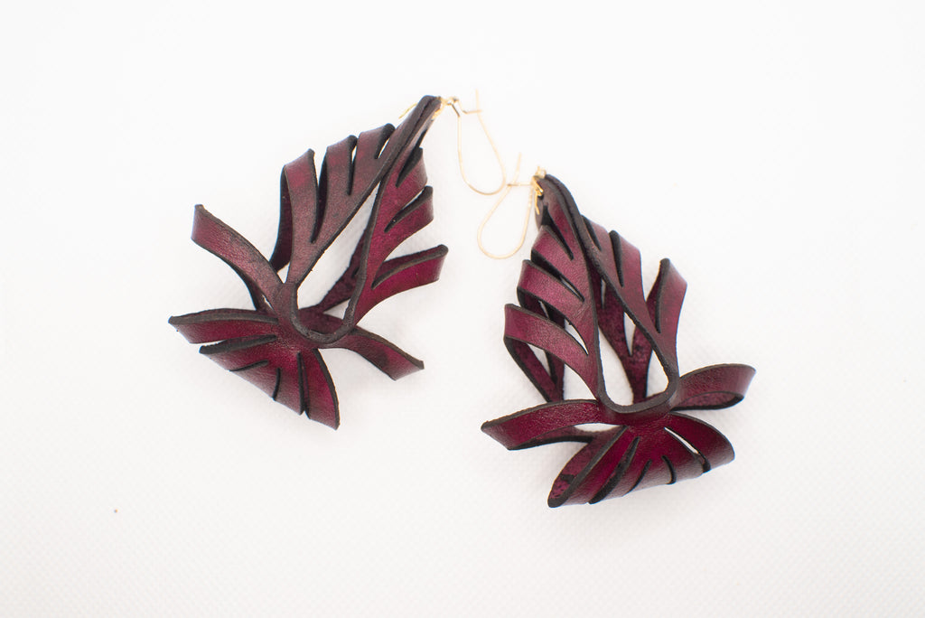 Ava Medium Leather Earrings - Merlot (Hand Dyed) - Amber Poitier Inc.