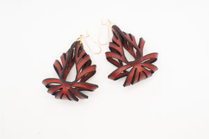 Ava Medium Leather Earrings - Rust (Hand Dyed) - Amber Poitier Inc.