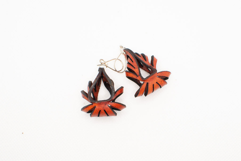 Ava Mini Leather Earrings - Rust (Hand Dyed) - Amber Poitier Inc.