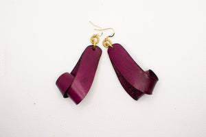 The Carla Small Leather Earrings - Merlot (Hand Dyed)