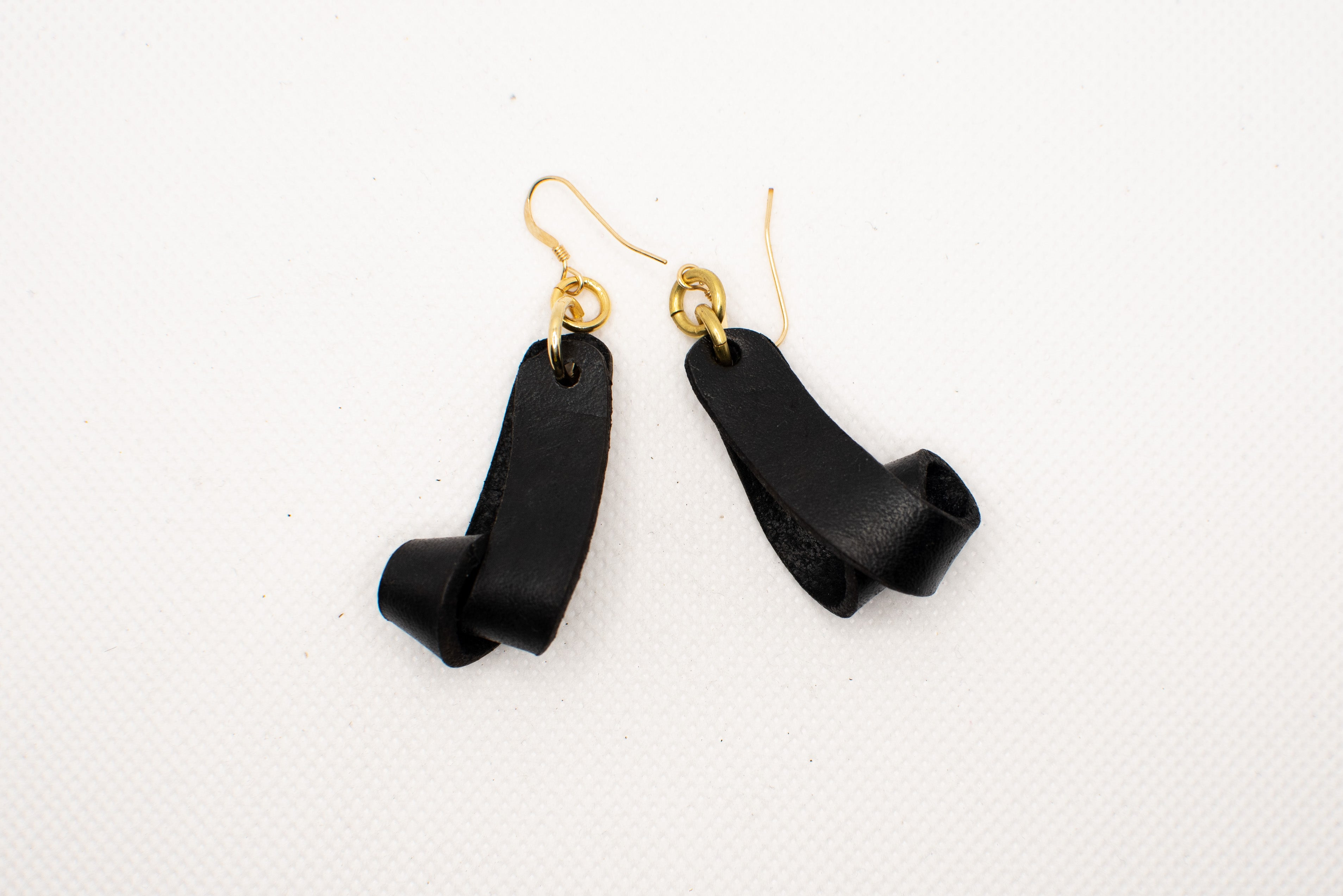 The Carla Small Leather Earrings - Black (Hand Dyed)