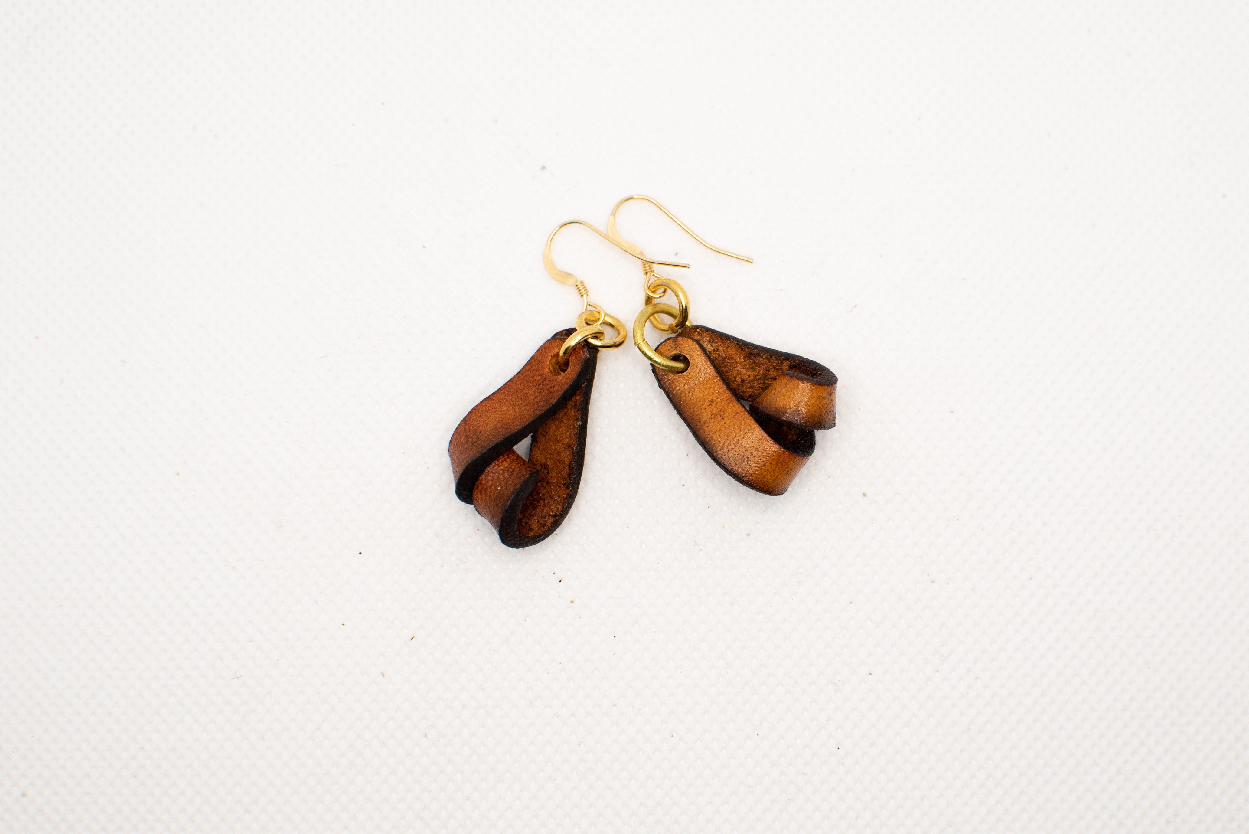 The Carla Mini Leather Earrings - Tan (Hand Dyed)