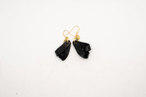 The Carla Mini Leather Earrings - Black (Hand Dyed)