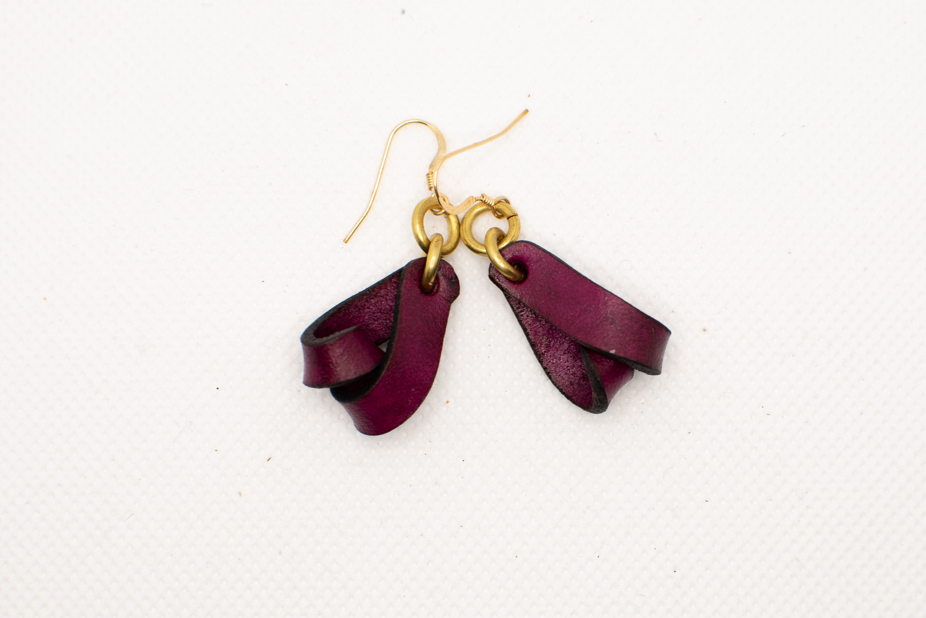 The Carla Mini Leather Earrings - Merlot (Hand Dyed)