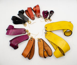 The Carla Mini Leather Earrings - Yellow Ochre (Hand Dyed)