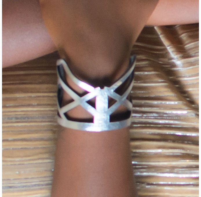Zoe Short Leather Bracelet - Silver - Amber Poitier Inc.