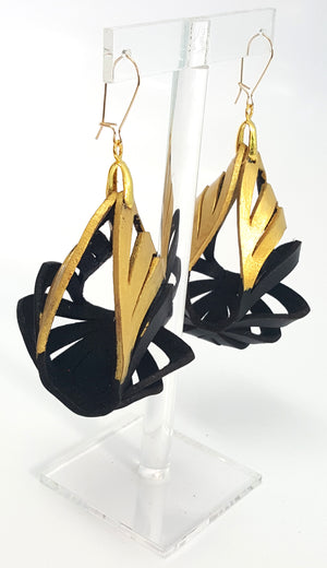 Ava Medium Leather Earrings - Black with Gold Tipping - Amber Poitier Inc.