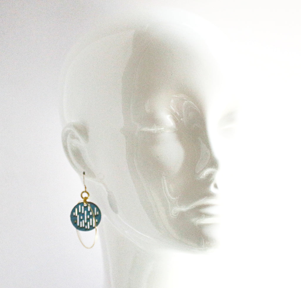 Jazmine Small Leather Earrings - Jade